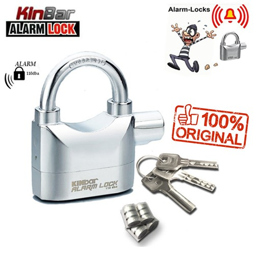 Alarm Padlock For Door / MotorBike / Car 110db Anti-Theft Security Lock Set With FREE SET BATTERIES