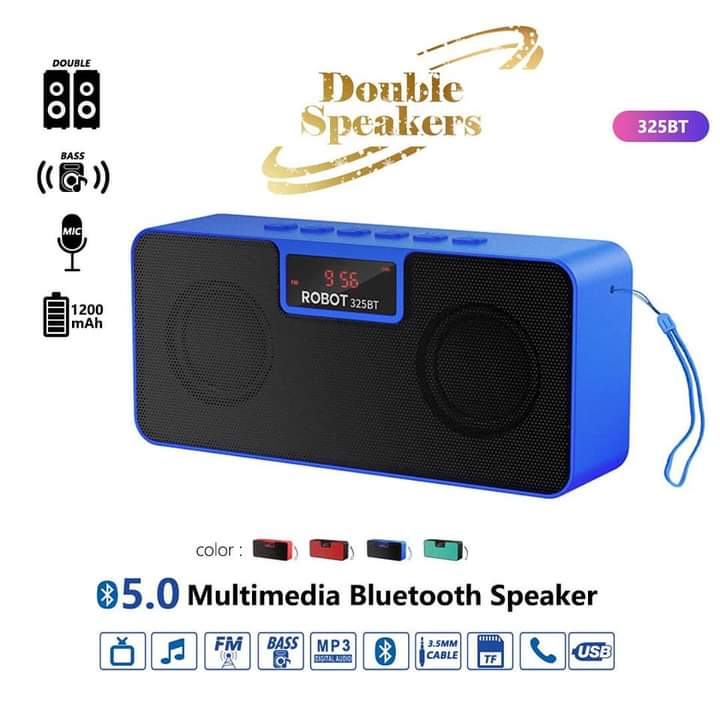 Blue Robot Portable Bluetooth With Double Speakers- Wireless