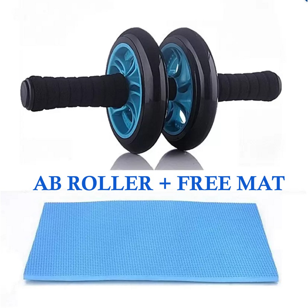 Double wheel Fitness Abs Roller with FREE mat
