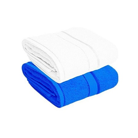 For Her & For Him Couples Bath Towel Set of 2 - 100% Premium Cotton Blue and white