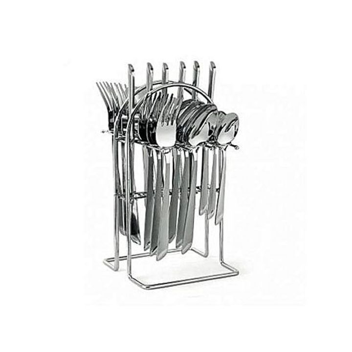 Generic 24 pcs Stainless Steel Cutlery Set Cutlery + Rack Stainless Steel