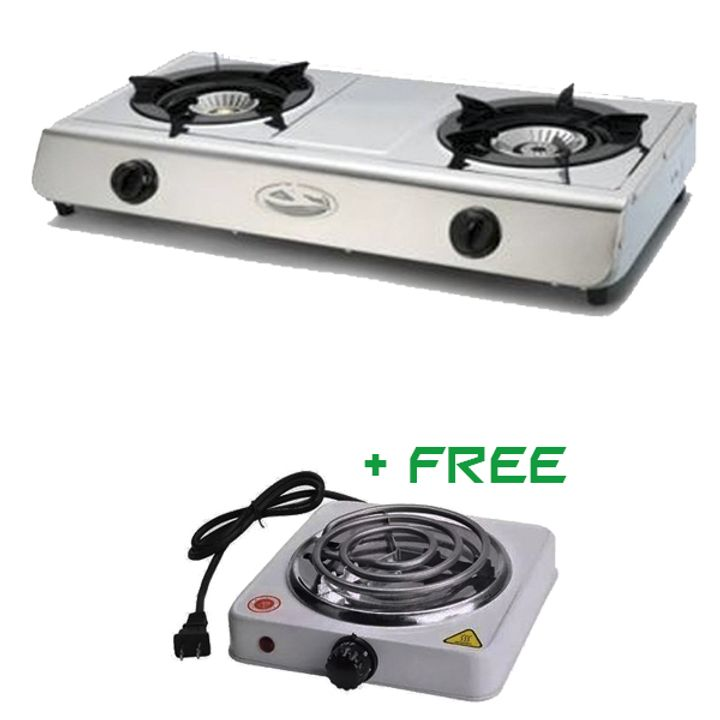 Generic 2 Burner Gas Cooker + FREE Electric Burner