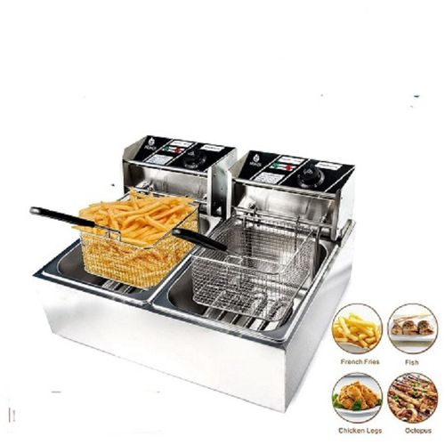 Generic 6L+ 6L Commercial Double Stainless Steel Deep Fryer