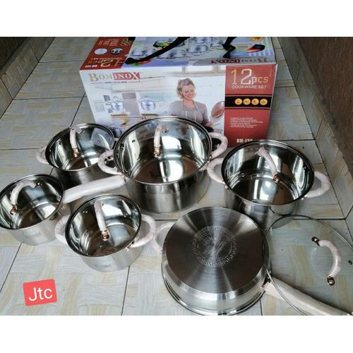 Generic Bominox Stainless Steel Induction Sufurias 12pc Cookware Set