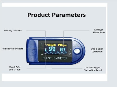 Generic Portable Fingertip Pulse Oximeter With Oxygen Saturation Monitor