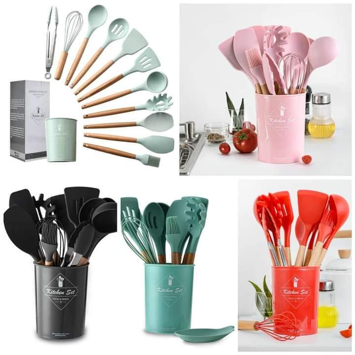 Generic Silicon Non-Stick Cooking Spoons Set Pink -11pcs