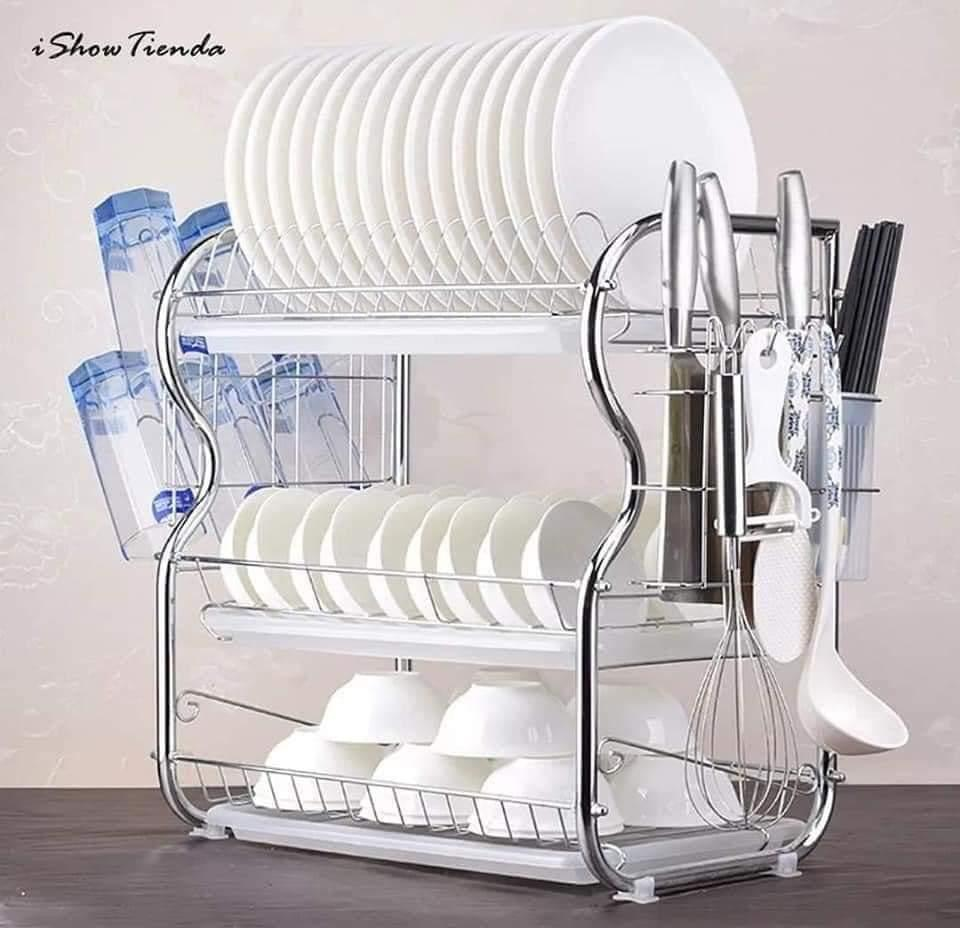 Generic Tier Dish Rack Stainless Steel Utensil Holder & Dish Drier