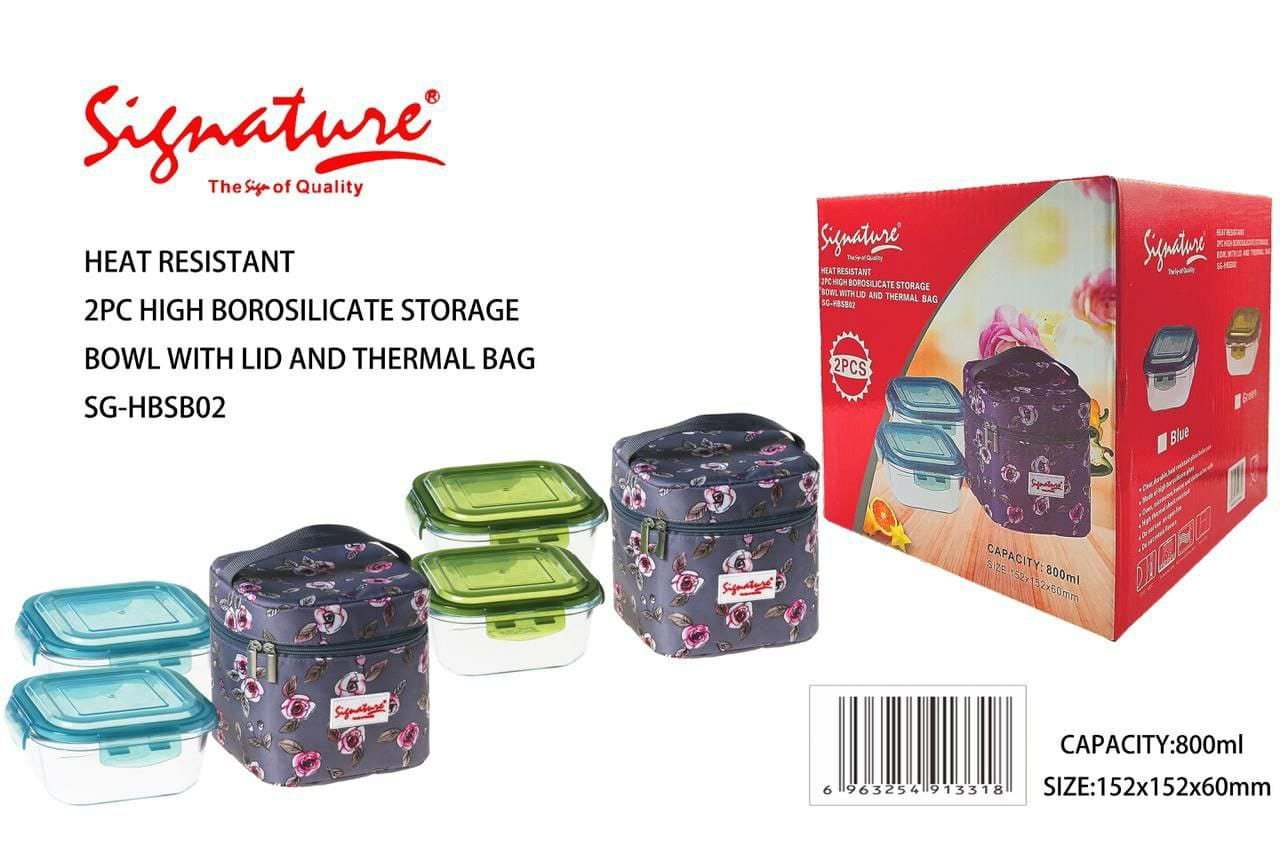 Heat Resistant High Borosilicate Glass 2 pcs Lunch Box with Plastic Lid and FREE Thermal Bag Multicolour