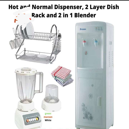 Hot and Normal Dispenser And Free Gifts ( 2 Tier Dish Rack & 2 in 1 Blender)