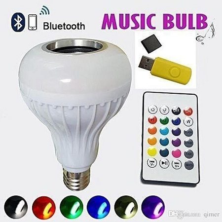 LED Music Bulb With Bluetooth,Music Player With FREE USB disk Multi-Colour standard 6w