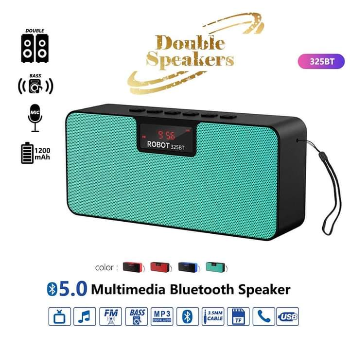 Light Blue Robot Portable Bluetooth With Double Speakers- Wireless