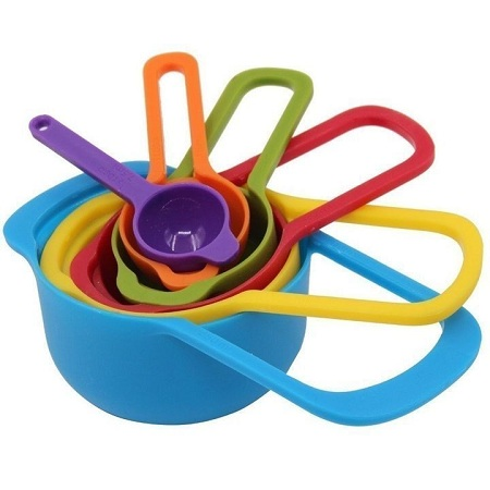 Measuring Cup and Spoons multi- coloured 6 pcs