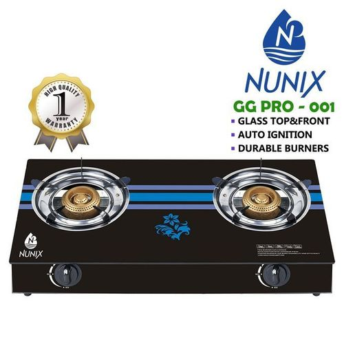 Nunix Tampered Glass Table Top Double Burner Gas Stove / Cooker GG01