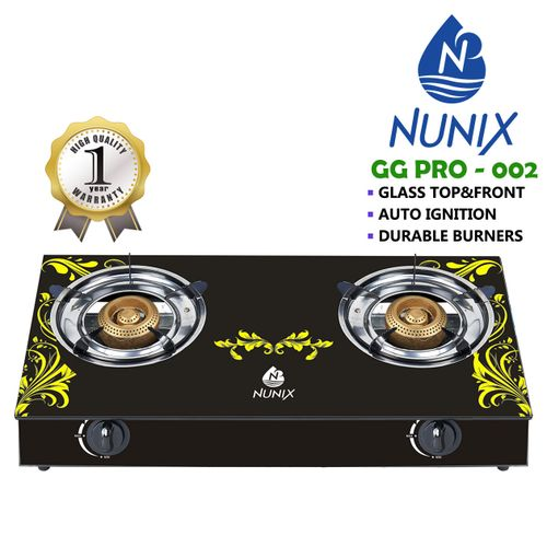 Nunix Tampered Glass Table Top Double Burner Gas Stove / Cooker GG02