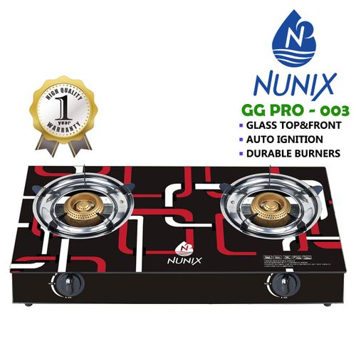 Nunix Tampered Glass Table Top Double Burner Gas Stove / Cooker GG03