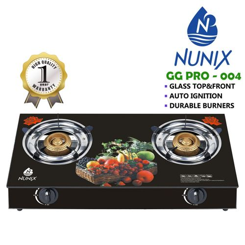 Nunix Tampered Glass Table Top Double Burner Gas Stove / Cooker GG04