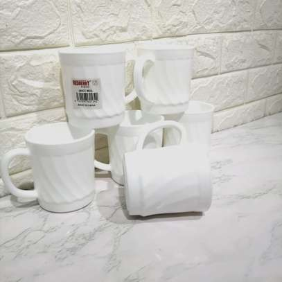 Plain White Shell Shaped Tea Coffee Mug Cup White 6 pcs