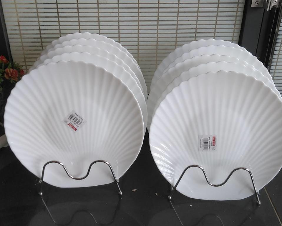 Plain White Shell Shaped dinner plates White 6 pcs