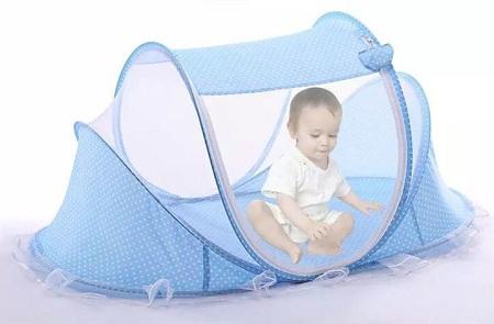Portable Travel Folding New born Mosquito Net blue standard