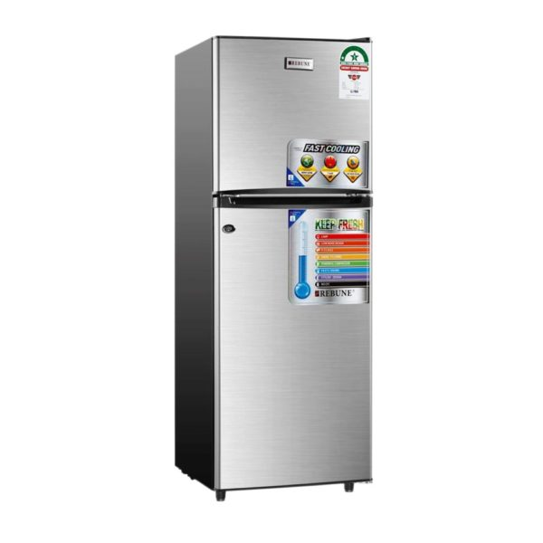 Rebune 129 Liters Double Door with Top Mount Freezer Direct Cooling Fridge
