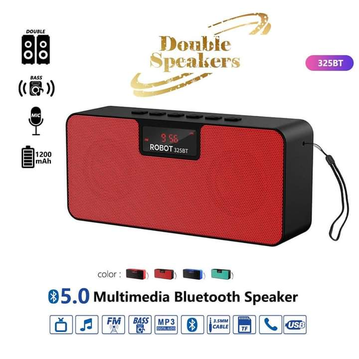 Red Robot Portable Bluetooth With Double Speakers- Wireless