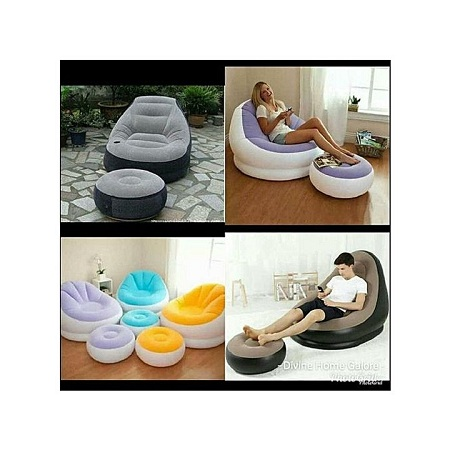 Soft Inflatable Seat with a free Pump Grey-Black