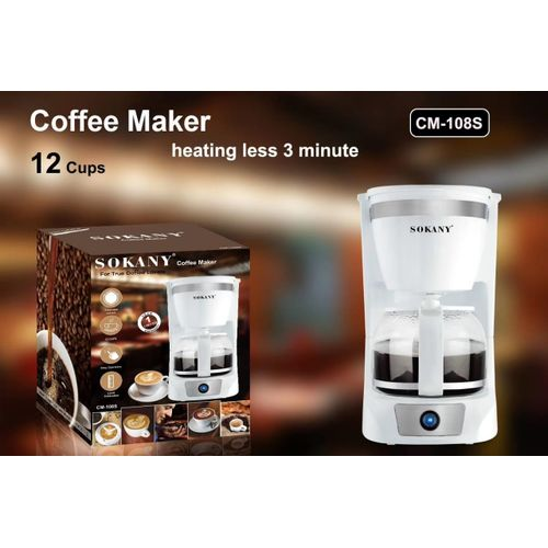 Sokany 12-Cup Coffee Maker White