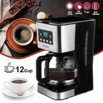 Sokany 12-Cup Digital Coffee Maker, Brew Options, Glass Carafe