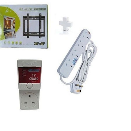 Wall Mounting Bracket for 14 - 42 TV plus free Tv guard and Free 4-way extension Standard