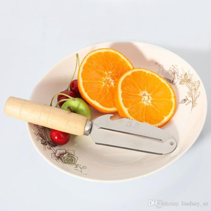 New Large Stainless Steel Fruit Vegetable Peeler Cucumber Carrot Potato Wooden Handle Kitchen