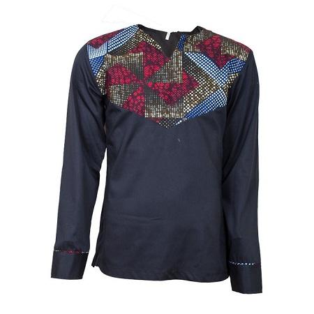 Fashion Black Long Sleeved African Shirt With Ankara Print