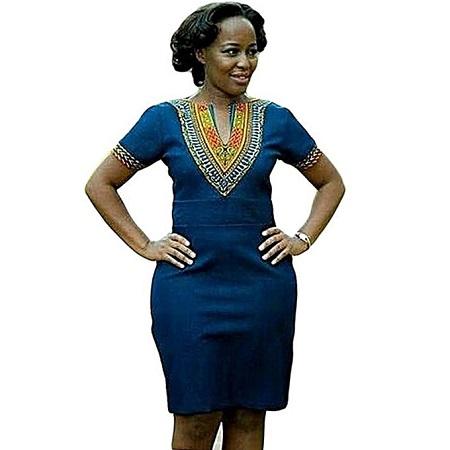 Fashion Blue Dashiki African Straight Dresses