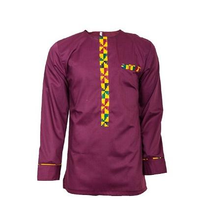Fashion Maroon Long Sleeved African Print Men's Shirt