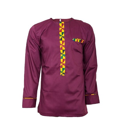 Fashion Maroon Long Sleeved African Print Casual Men's Shirt with Kente details at the front