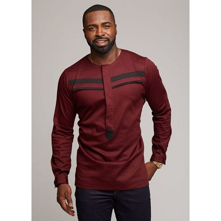 Fashion Maroon Long Sleeved African Shirt