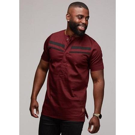 Fashion Maroon Shirt, Short Sleeves; Black Details
