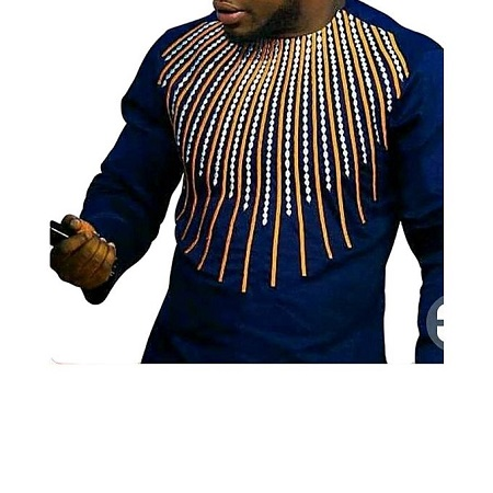 Fashion Navy Blue Long Sleeved Shirt With Embroidery Details