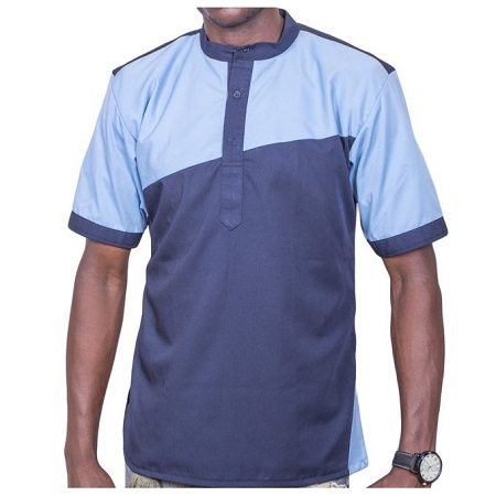 Fashion Navy Blue African Shirt, Short Sleeve; Sky Blue Strip