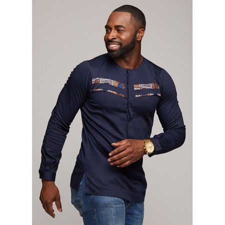 Fashion Navy Blue Long Sleeved African Shirt With Kitenge Details At The Chest