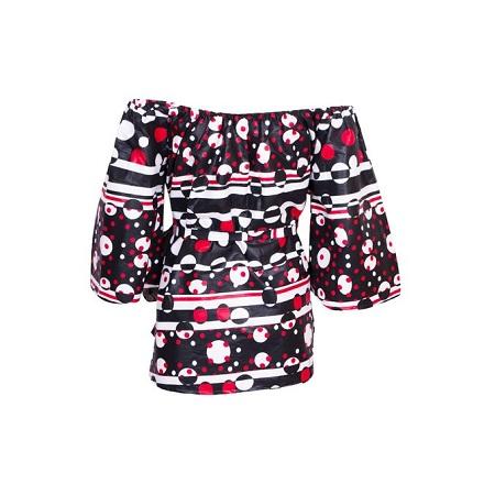 Fashion Off-Shoulder African [kitenge; red & black] Print Top