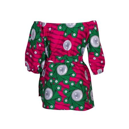 Fashion Off-Shoulder African [kitenge] Print Top
