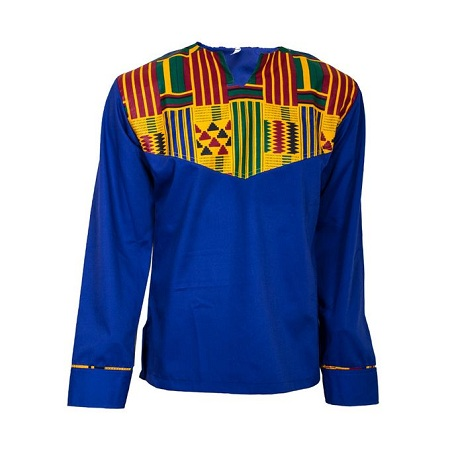 Fashion Royal Blue African casual/official shirt with African Kente print
