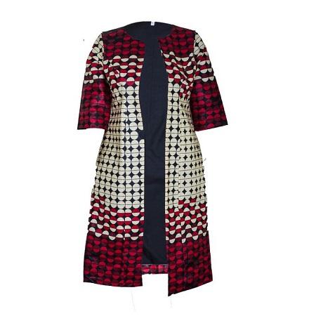 Fashion Unique Ankara Kimono/ Coat (cream, black and red kitenge print)