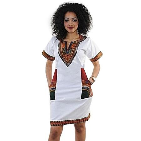 Fashion White African Dashiki Print Dress