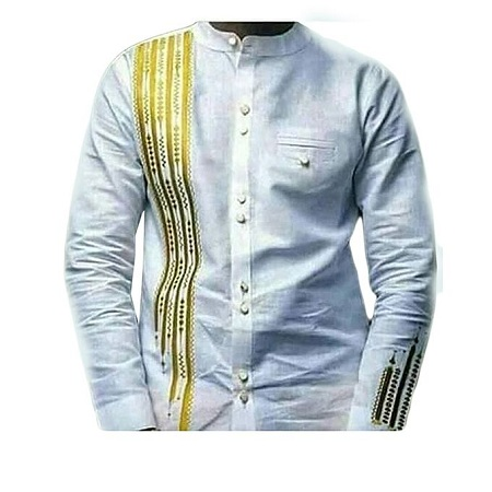 Fashion White long Sleeved African Print Casual Men's Shirt [embroidered]