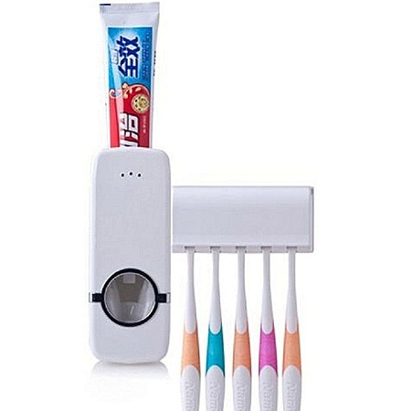 Automatic Toothpaste Dispenser and 5 Toothbrush Holder white normal