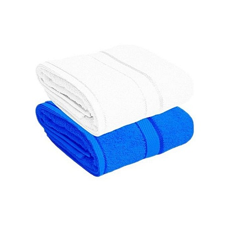 For Her & For Him Couples Bath Towel Set of 2 - 100% Premium Cotton blue+white normal