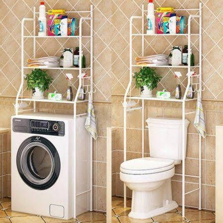 White Bathroom Rack Shelves Organiser