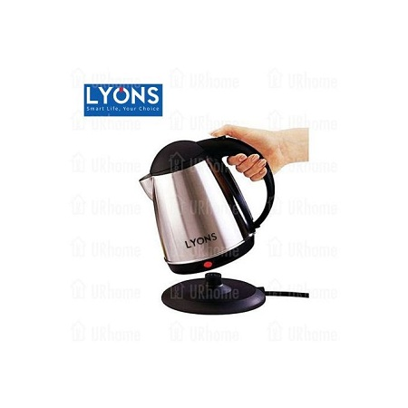 Lyons FK-0301 Silver & Black Cordless Stainless Steel Electric Kettle - 1.8L