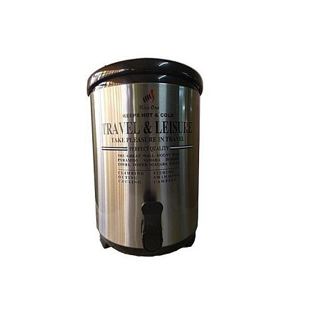 Nice One Portable Flask 9.5 Litres For Serving Hot Tea / Coffee / Beverages - Stainless Steel - Silver